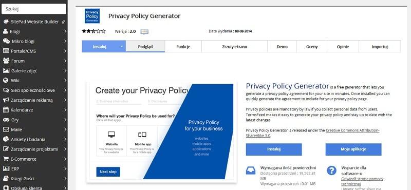Generator zasad prywatności
