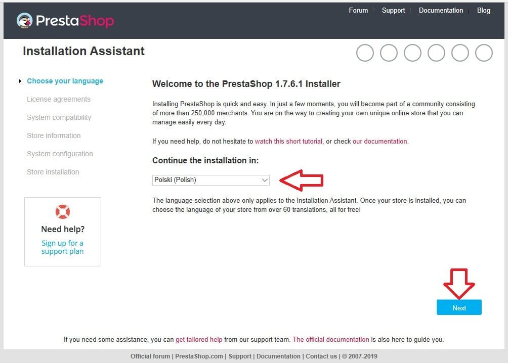 prestashop-instalacja-wybor-jezyka
